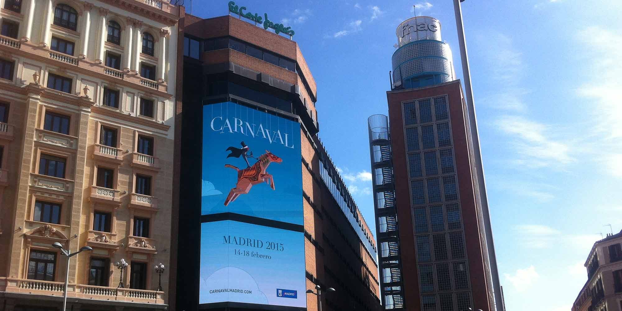 pantallas callao Corte Ingles Gran via spot animacion motion graphics carnaval madrid 2015